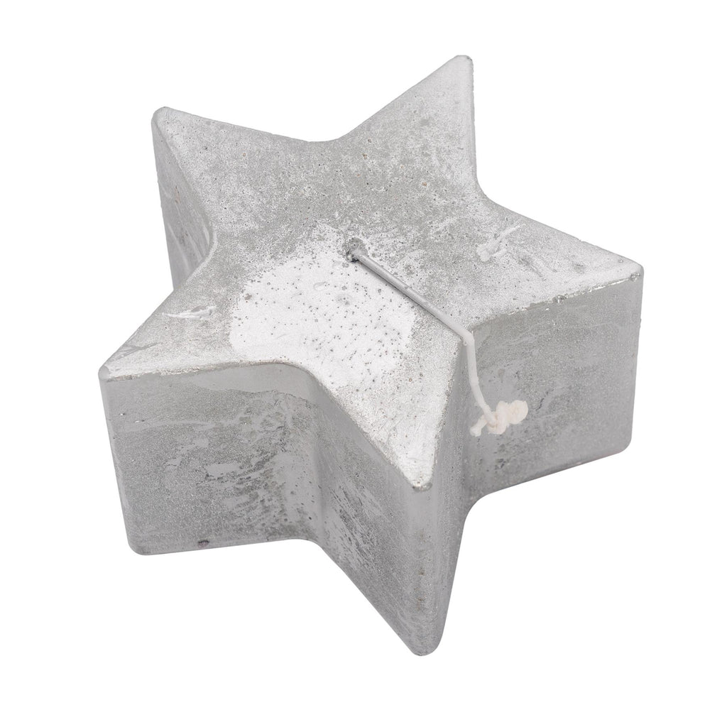 Nicola Spring Star Shaped Metallic Candle - Silver - 75hr