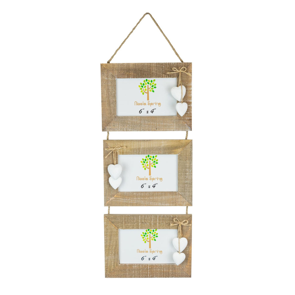 Nicola Spring Triple Wooden Hanging Picture Frame - 6x4 - Natural with White Hearts