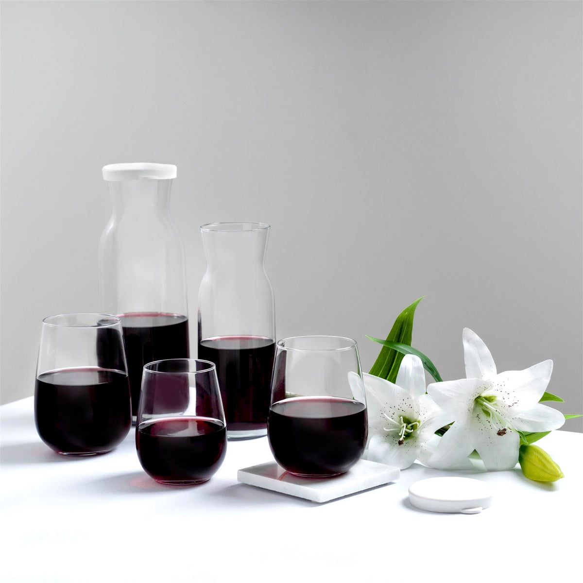 Argon Tableware 6pc Corto Stemless Wine Glasses Set 475ml Dining Table Glassware Collection