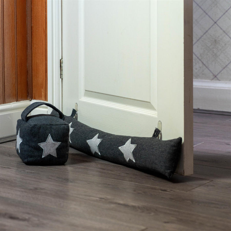 Nicola Spring Fabric Door Stop Star Grey and Draught Excluder