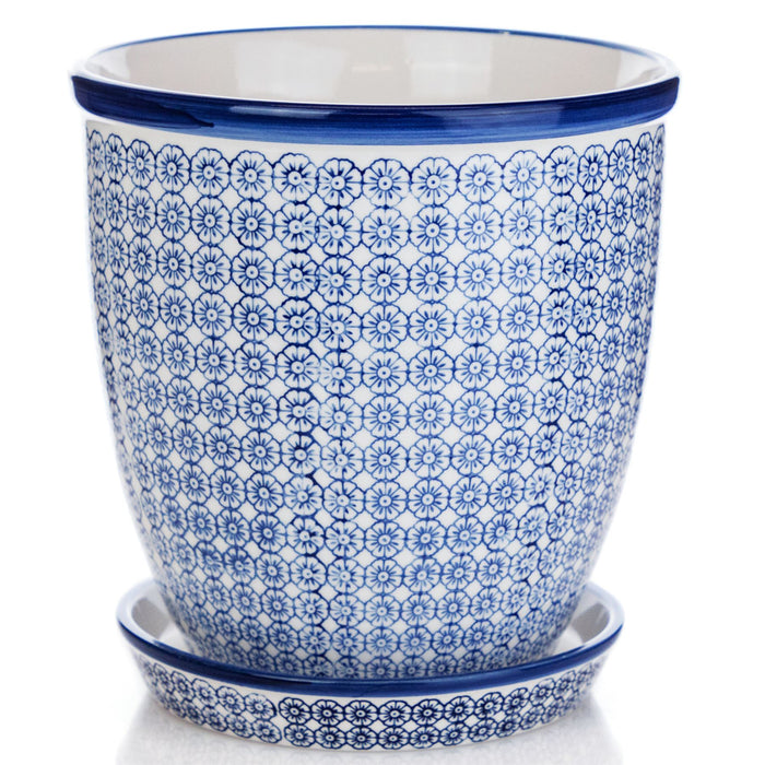 Nicola Spring Hand-Printed Japanese China Flower Pot with Drip Tray - Blue Floral - 203mm