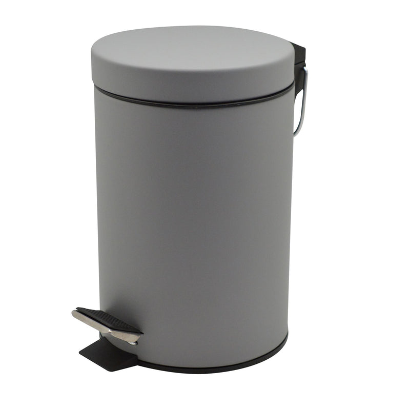 Harbour Housewares Bathroom Pedal Bin With Inner Bucket - 3 Litre Bin - Grey Finish