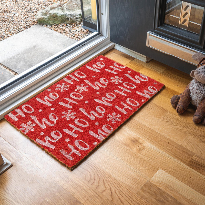 Nicola Spring Christmas Door Mat - 60 x 40cm - Ho Ho Ho - Red Interior Doorstep