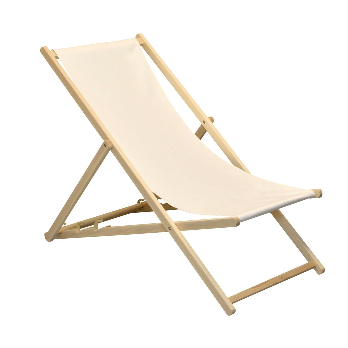 Harbour Housewares Beach Deck Chair - Cream with Beech Wood Frame
