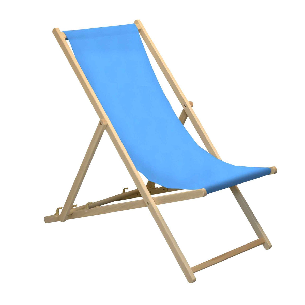 Easy to adjust - the Harbour Housewares Beach Deck Chair - Light Blue