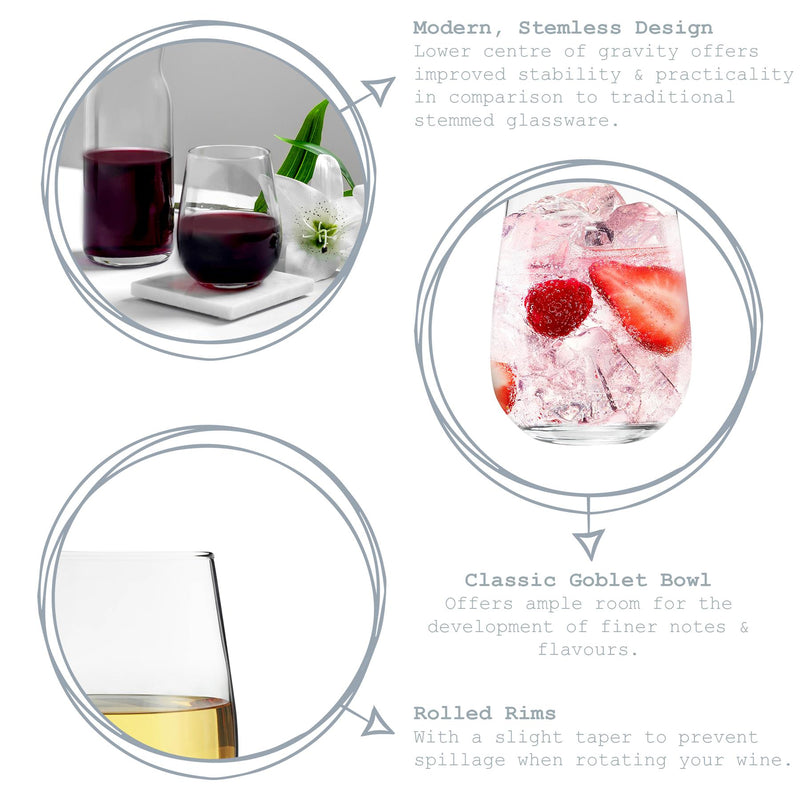 Argon Tableware 6pc Corto Stemless Wine Glasses Set 475ml Key Features