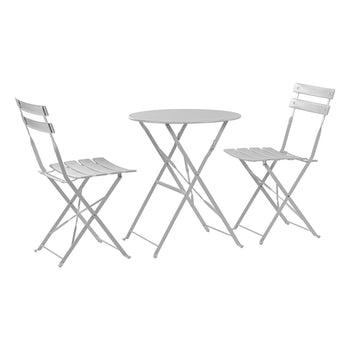 Harbour Housewares 3 Piece Sussex Bistro Set - Round - White