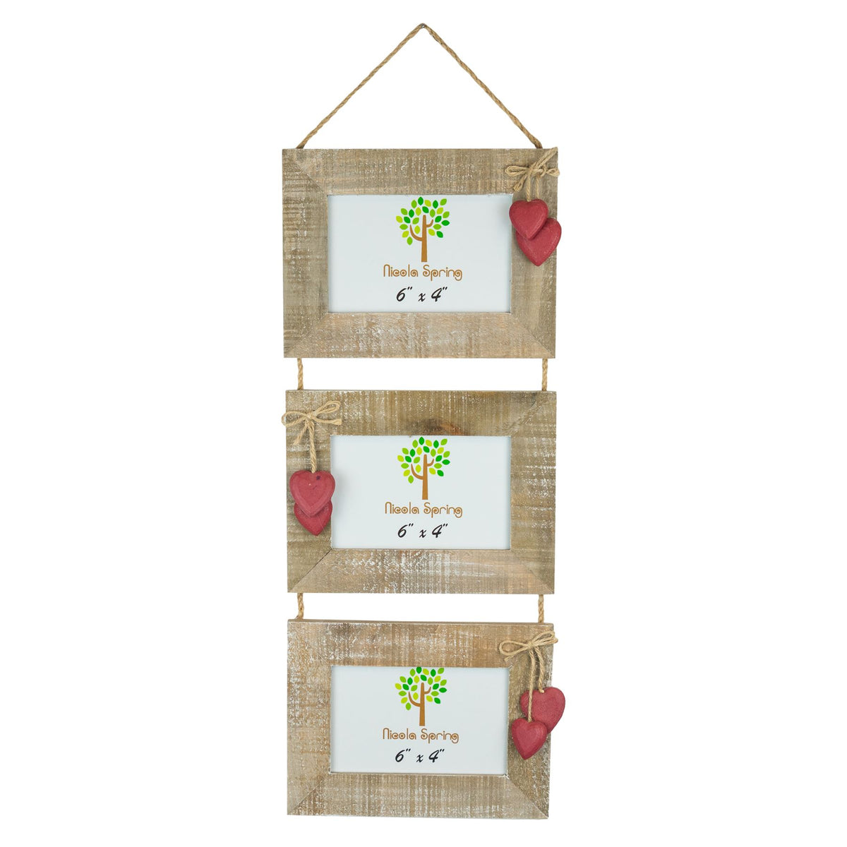 Nicola Spring Triple Wooden Hanging Picture Frame - 6x4 - Natural with Red Hearts