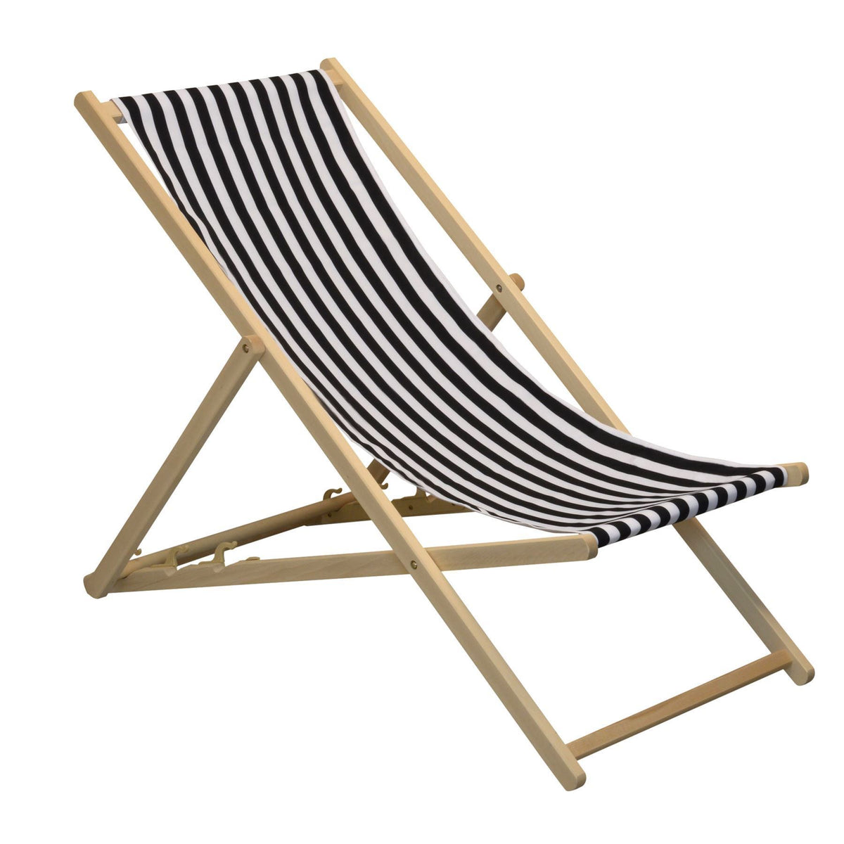 Harbour Housewares Beach Deck Chair - Black/White Stripes with Beech Wood Frame