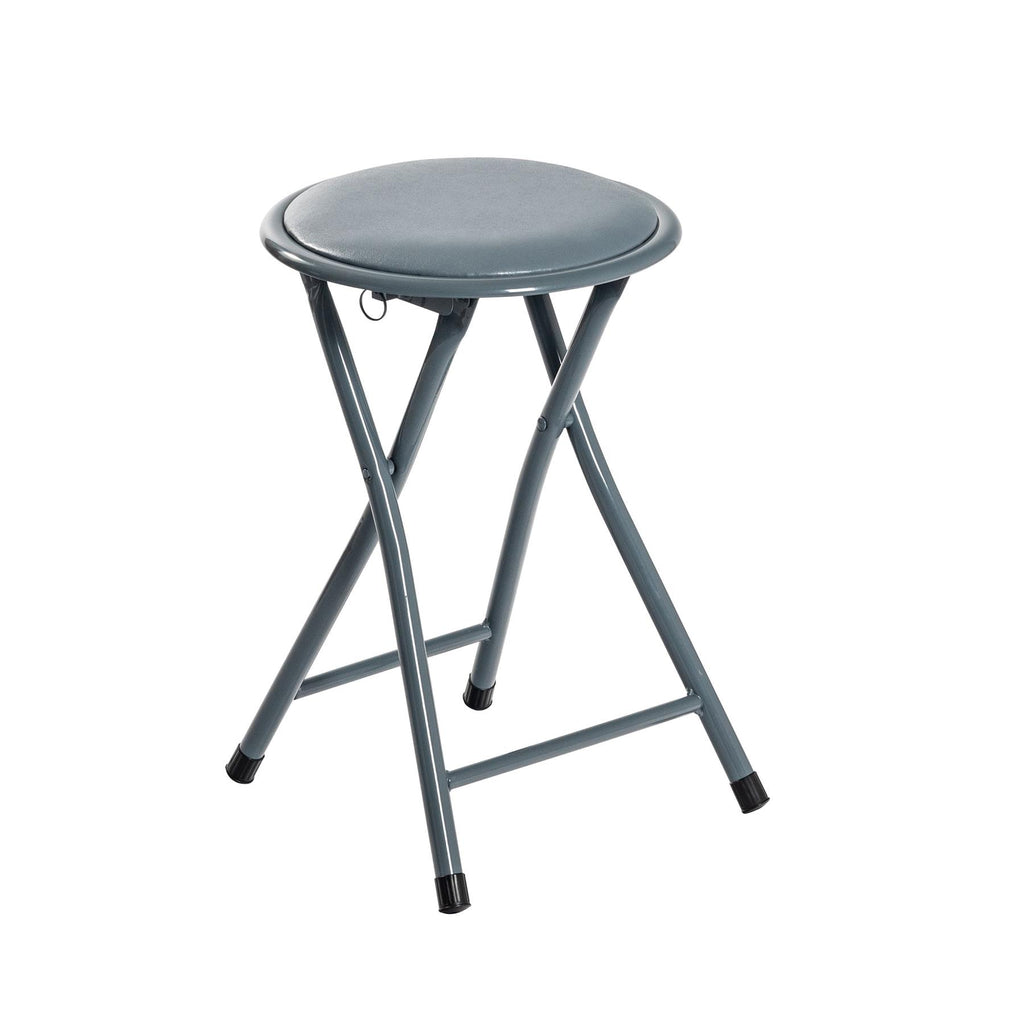 Harbour Housewares Round Compact Folding Stool - Grey