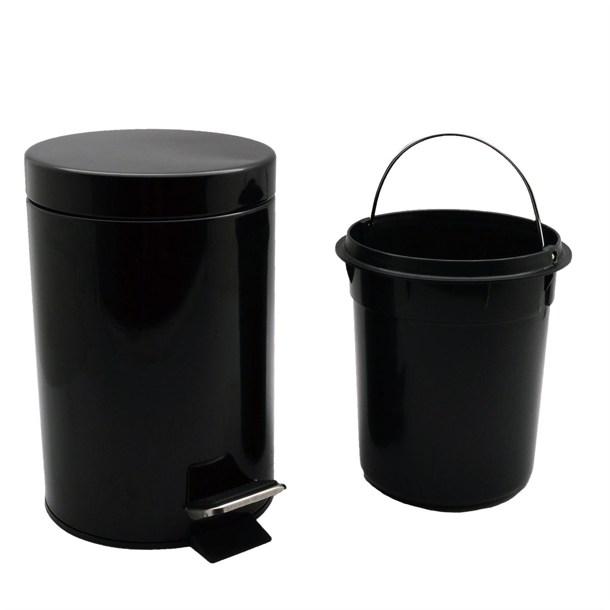 Harbour Housewares Bathroom Pedal Bin With Inner Bucket - Black - 3L