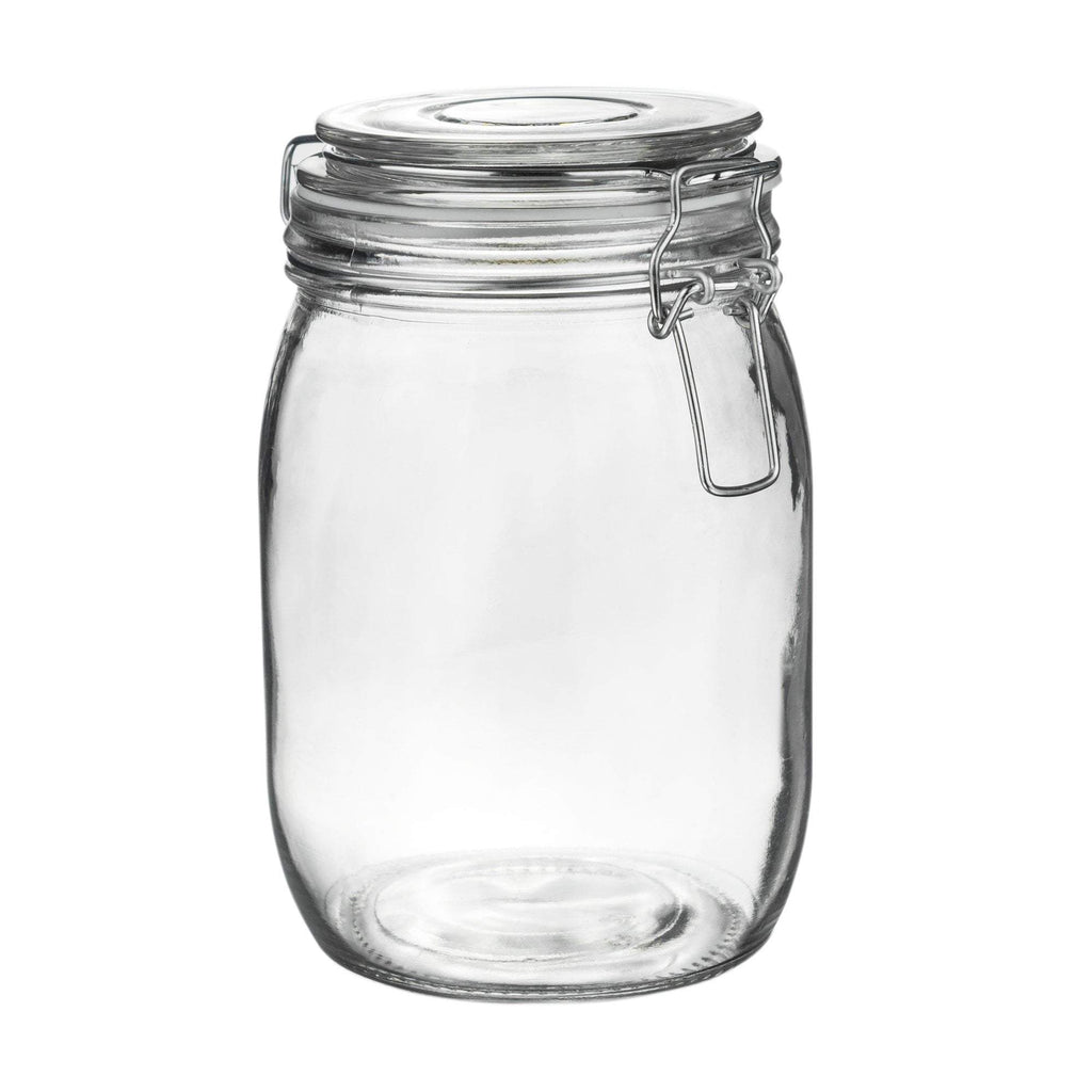 Argon Tableware Glass Storage Jar - 1 Litre - White Seal