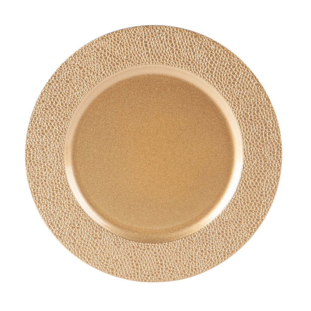 Argon Tableware Single Charger Plate - Decorative Under-plate - 33cm - Hammered Gold