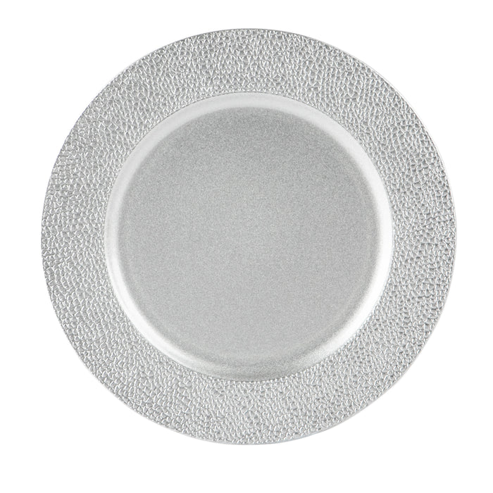 Argon Tableware Single Charger Plate - Decorative Under-plate - 33cm - Hammered Silver