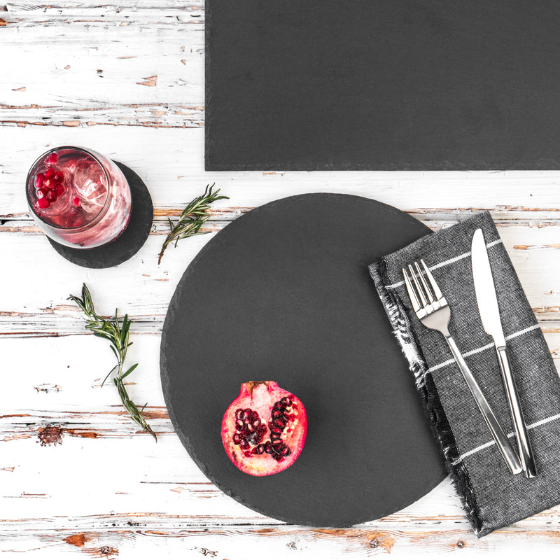 Argon Tableware Round Natural Slate Drinks Coaster