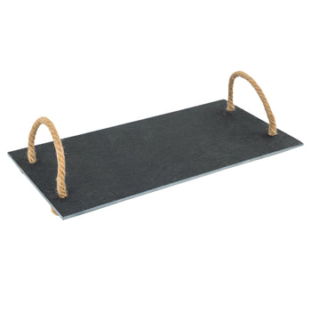 Argon Tableware Slate Serving Tray with Vintage Rope Handles