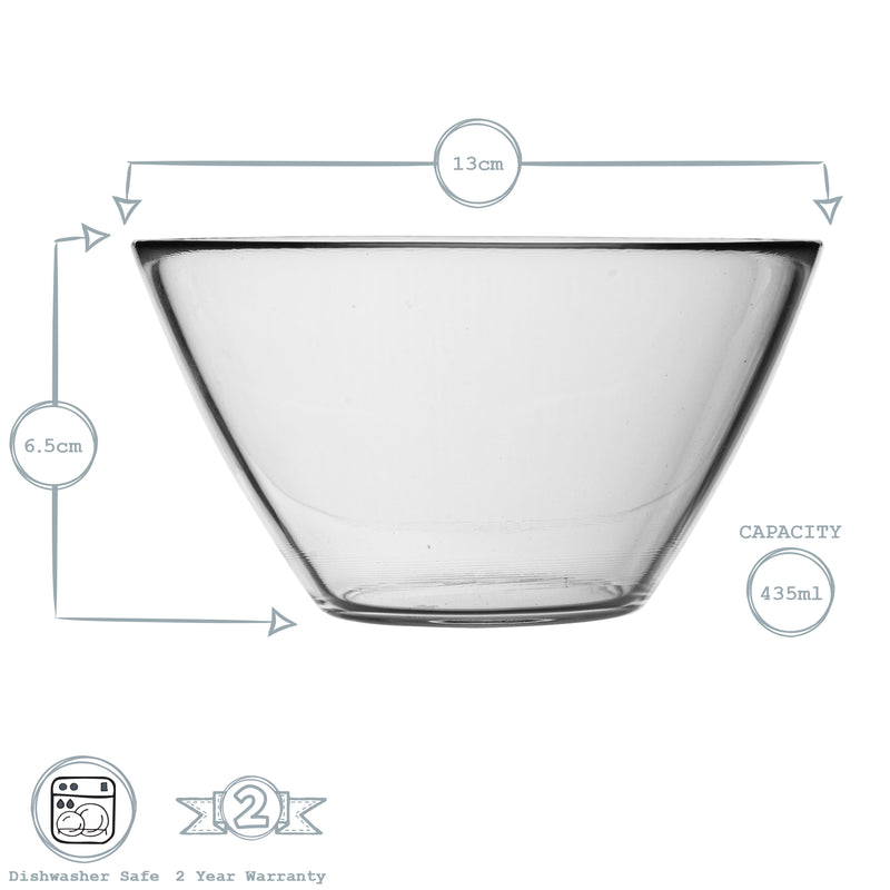 Bormioli Rocco Basic Glass Kitchen Mixing Bowl - 435ml