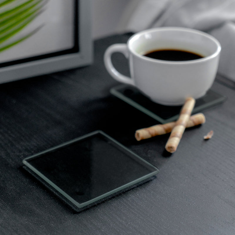 Harbour Housewares Square Glass Coaster - Black