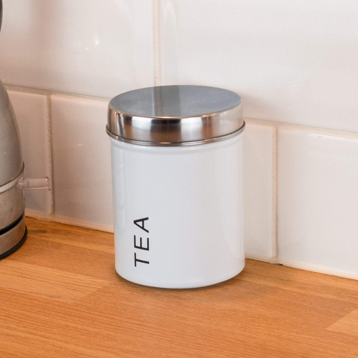 Harbour Housewares Metal Tea Canister - White