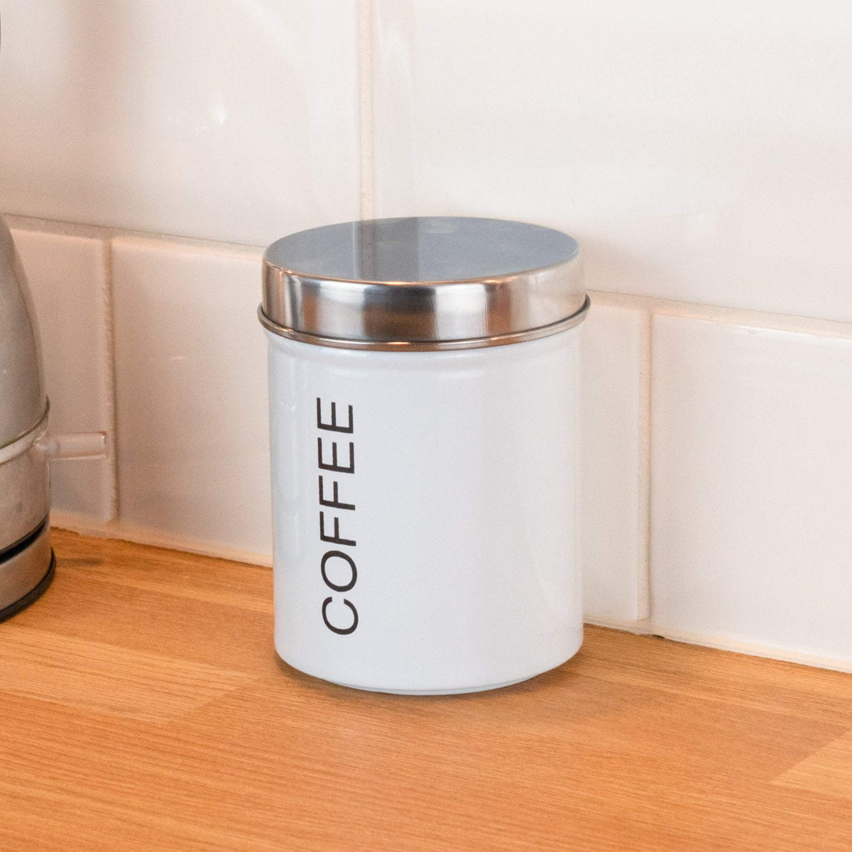 Harbour Housewares Metal Coffee Canister - White
