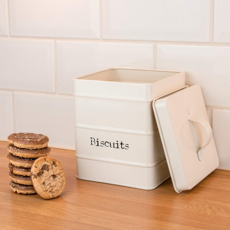 Harbour Housewares Metal Biscuit Canister - Cream