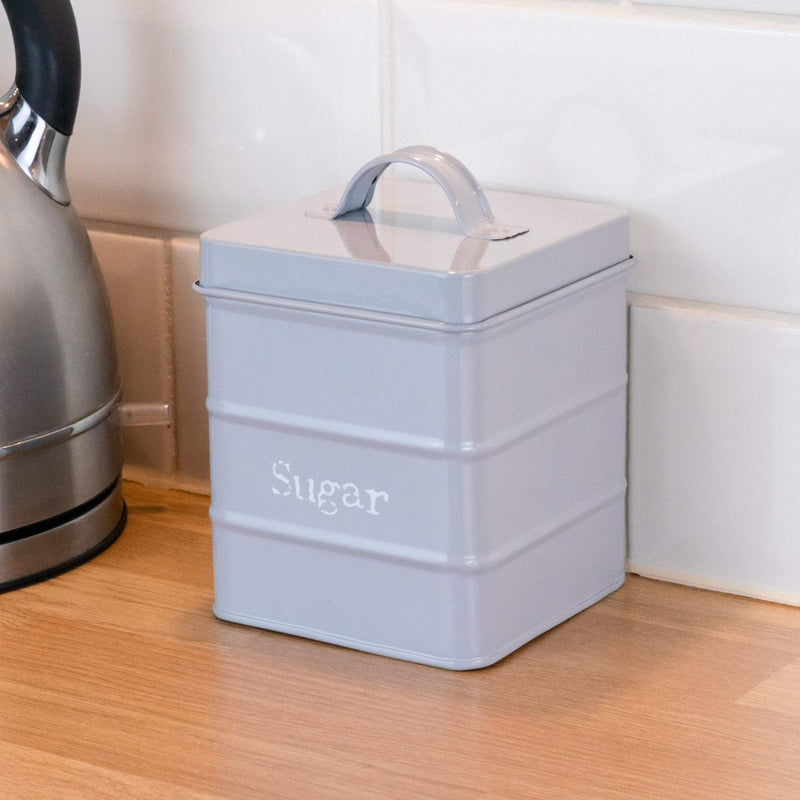 Harbour Housewares Vintage Style Metal Kitchen Sugar Canister - Grey - 2L
