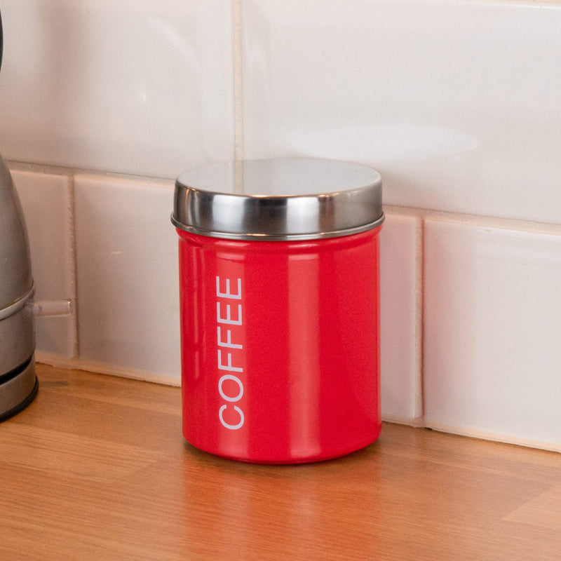 Harbour Housewares Metal Coffee Canister - Red