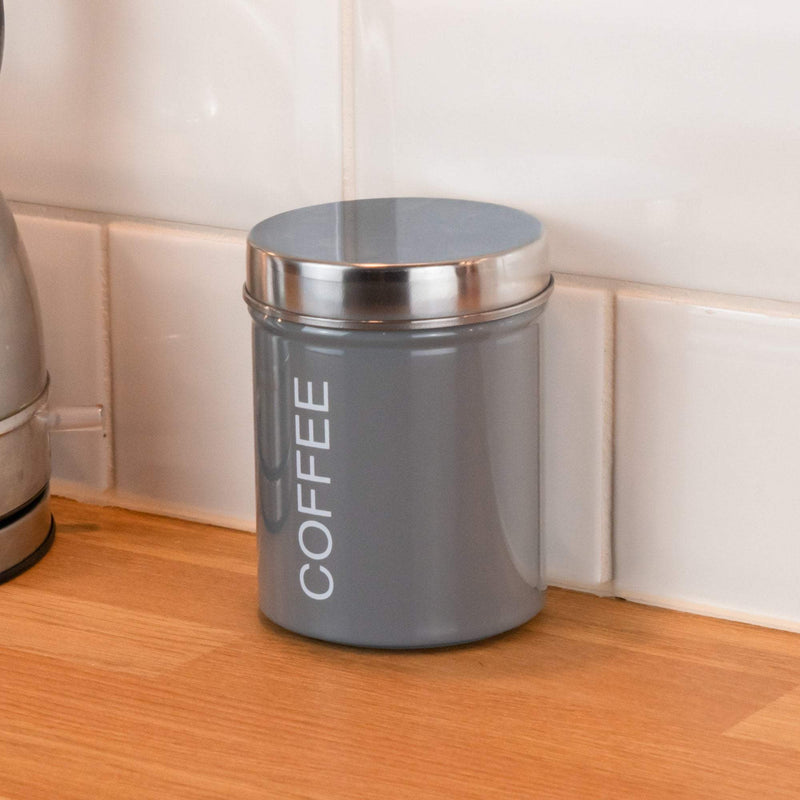Harbour Housewares Metal Coffee Canister - Grey