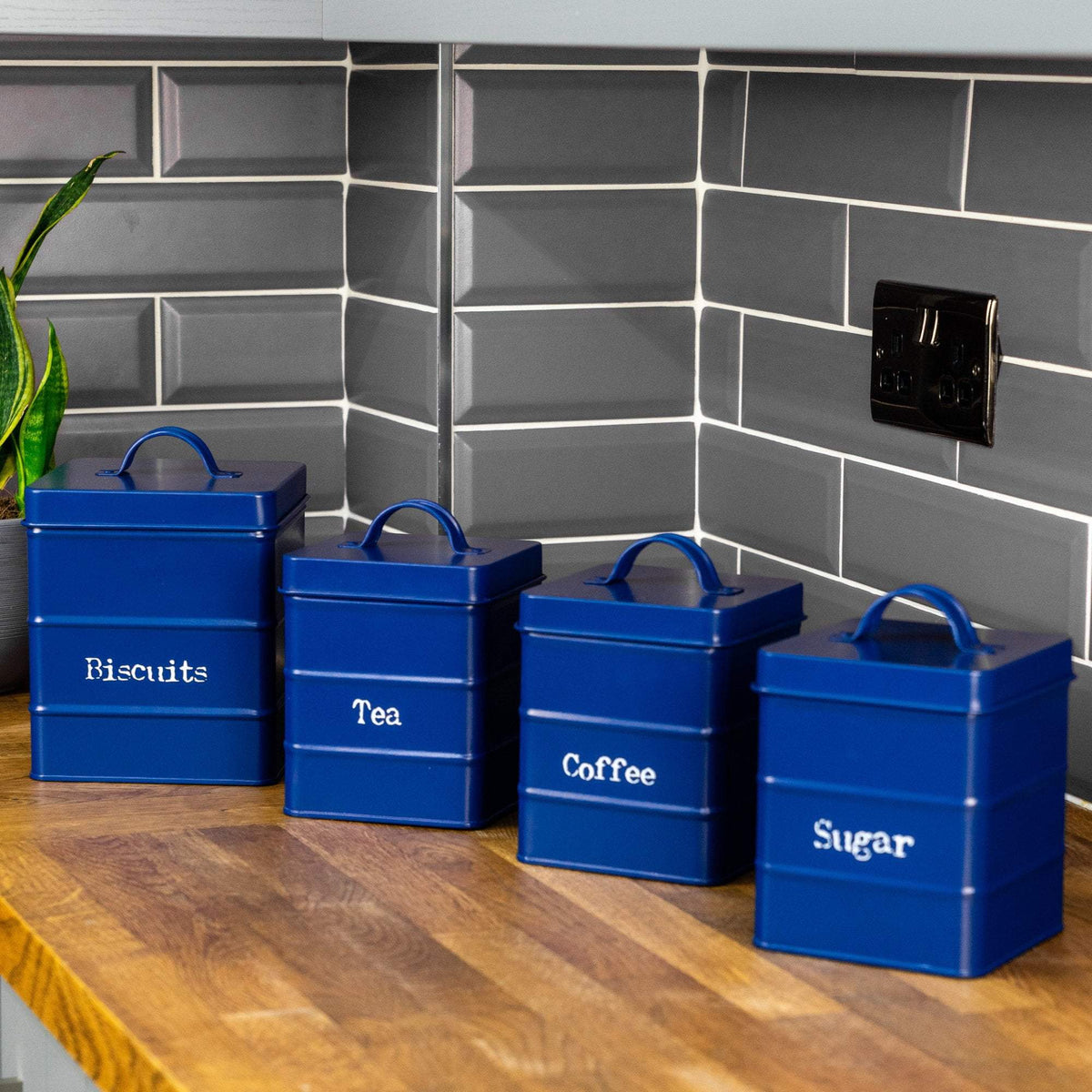 Harbour Housewares Vintage Metal Kitchen Canisters - Navy