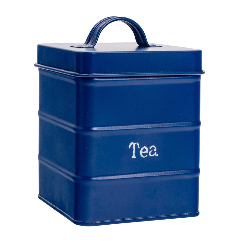 Harbour Housewares Vintage Metal Kitchen Tea Canister - Navy