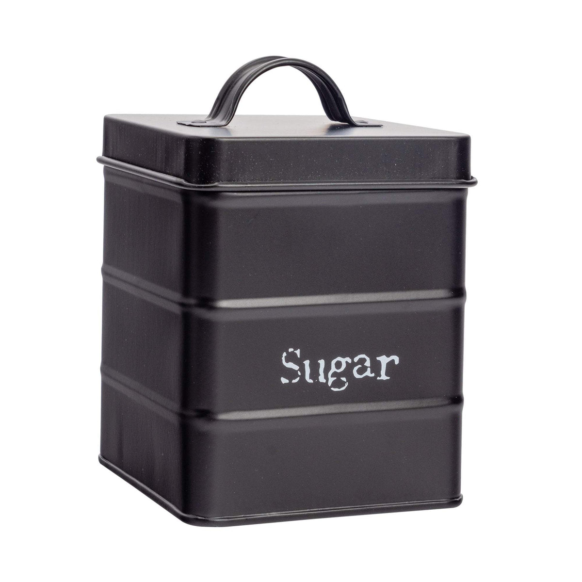 Harbour Housewares Vintage Metal Kitchen Sugar Canister - Black
