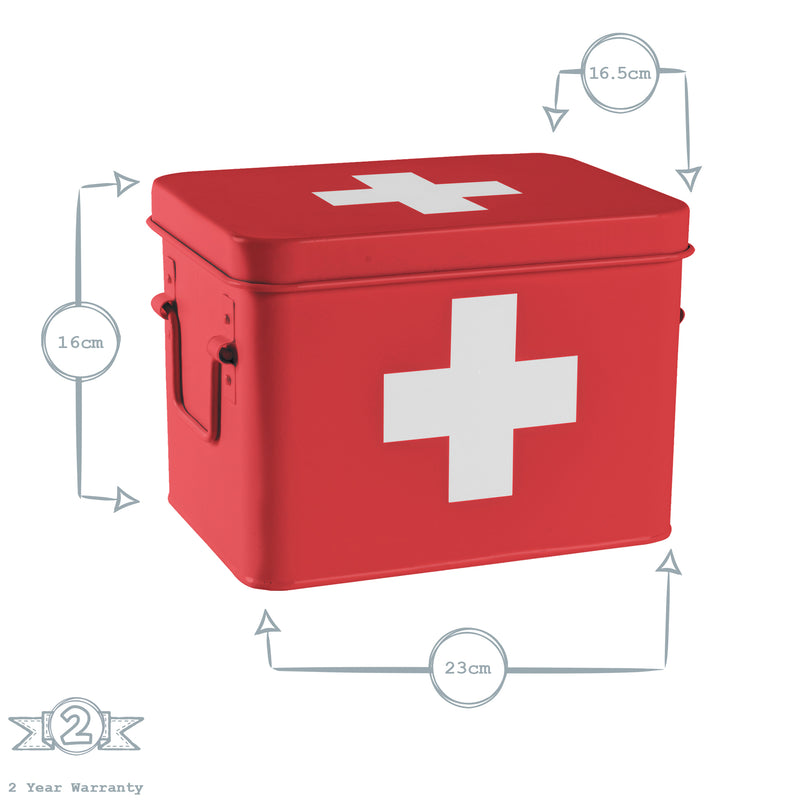 Harbour Housewares Vintage First Aid Storage Canister - Red