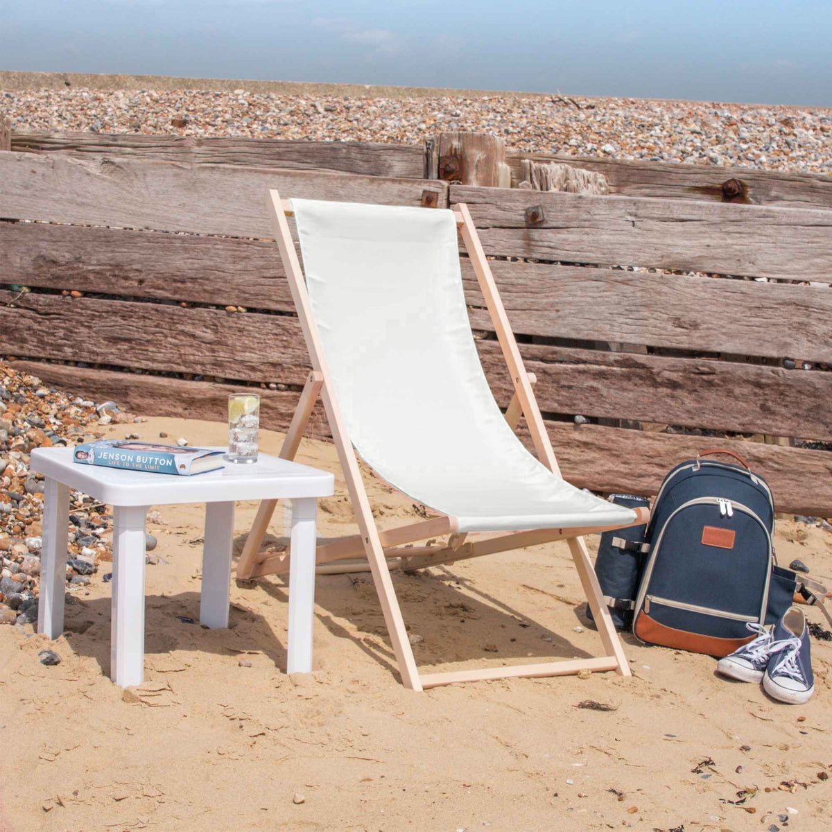 Cream Coloured Beach Deck Chair from Rinkit