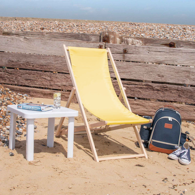 Harbour Housewares Beach Deck Chair - Mustard with Beech Wood Frame