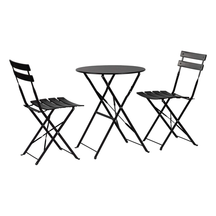 Harbour Housewares 3 Piece Sussex Bistro Set - Round - Black