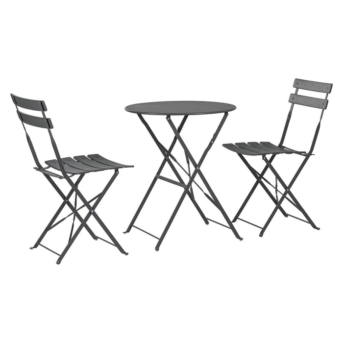 Harbour Housewares 3 Piece Sussex Bistro Set - Round - Grey