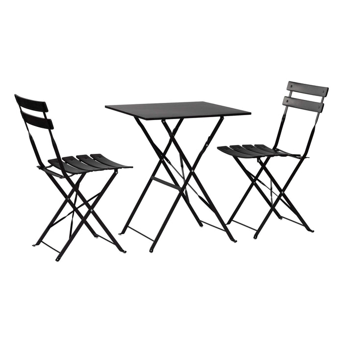 Harbour Housewares 3 Piece Sussex Bistro Set - Square - Black