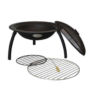Harbour Housewares Fire Pit Patio Heater and Grill - 54cm Diameter