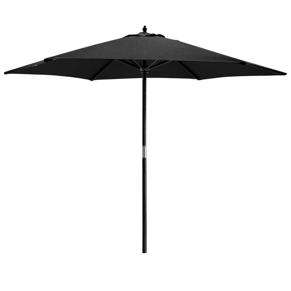 Harbour Housewares Garden Parasol - Wooden Frame - Black