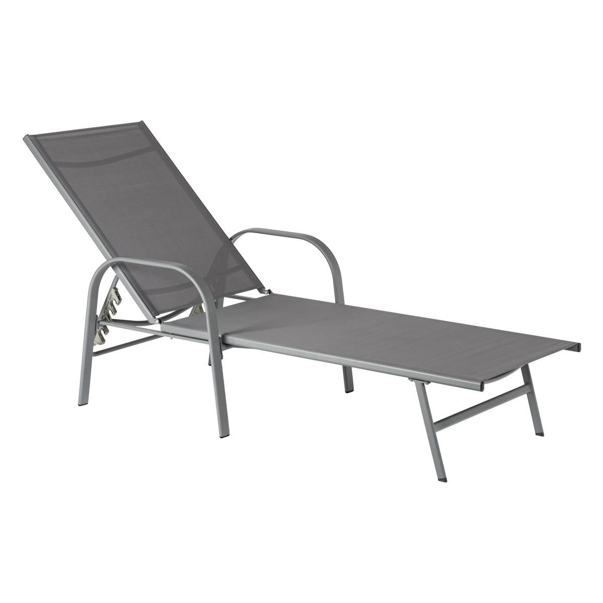 Harbour Housewares Sussex Adjustable Garden Sun Lounger Bed - Grey