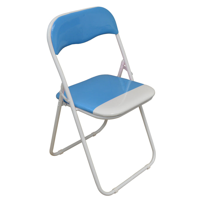 Harbour Housewares Baby Blue / White Padded, Folding, Desk Chair