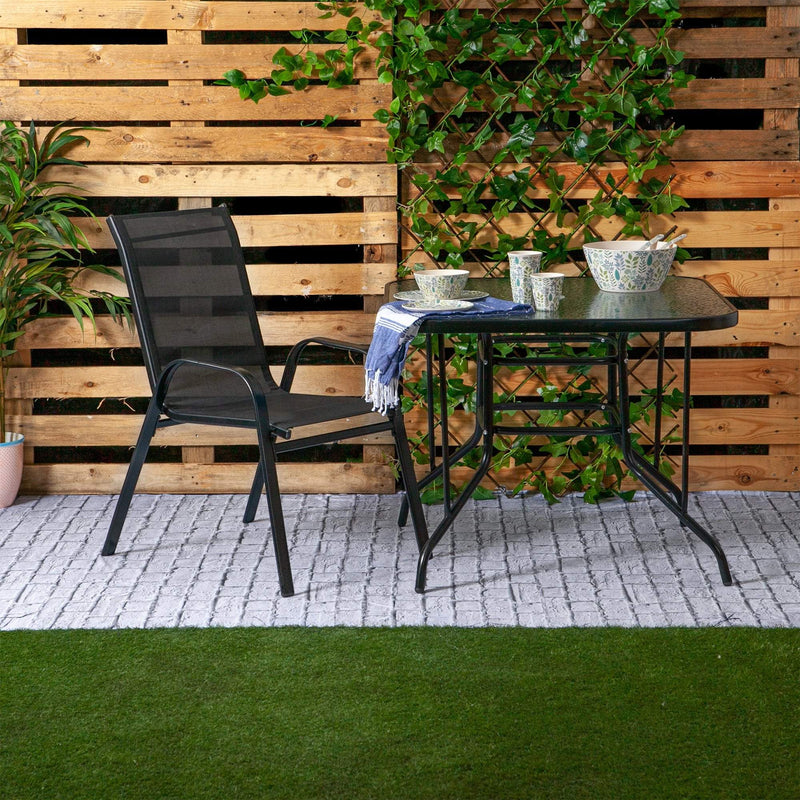 Harbour Housewares Glass Top Garden Table - 90 x 90cm - Black