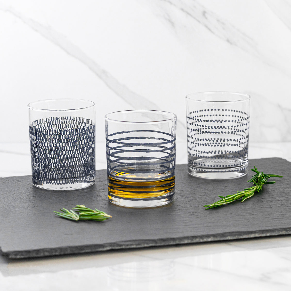 LAV Liberty Patterned Whisky Glasses - 280ml - Navy - Pack of 3