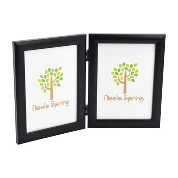 Nicola Spring Folding Double Picture Frame - 5x7 - Black