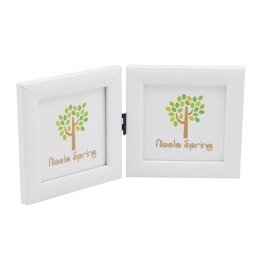 Nicola Spring Folding Double Picture Frame - 4x4 - White