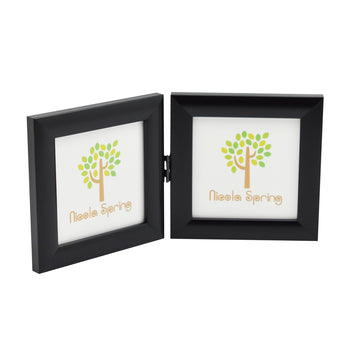 Nicola Spring Folding Double Picture Frame - 4x4 - Black