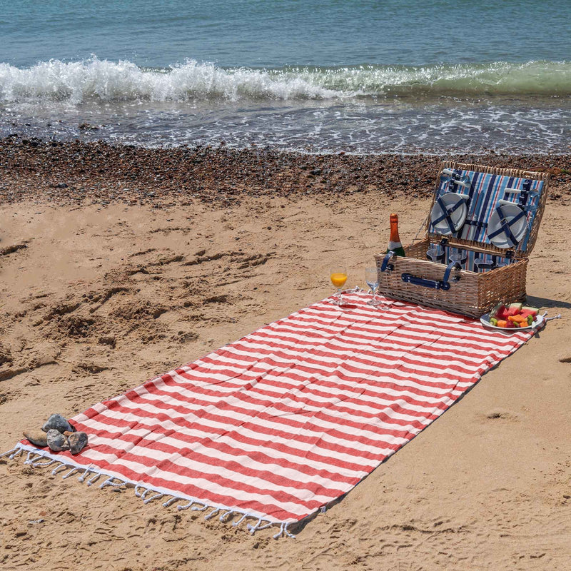 Nicola Spring 170 x 90cm Turkish Cotton Beach Towel - Red Stripe