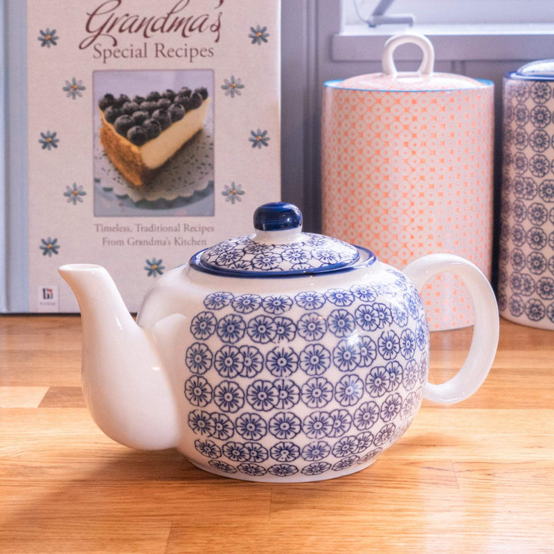 Nicola Spring Patterned Porcelain Teapot - Blue Flower