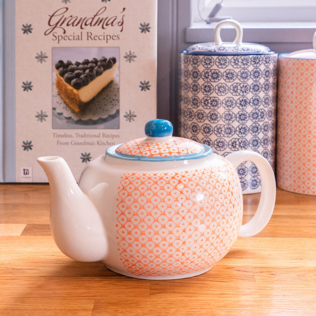Nicola Spring Patterned Porcelain Teapot - Orange