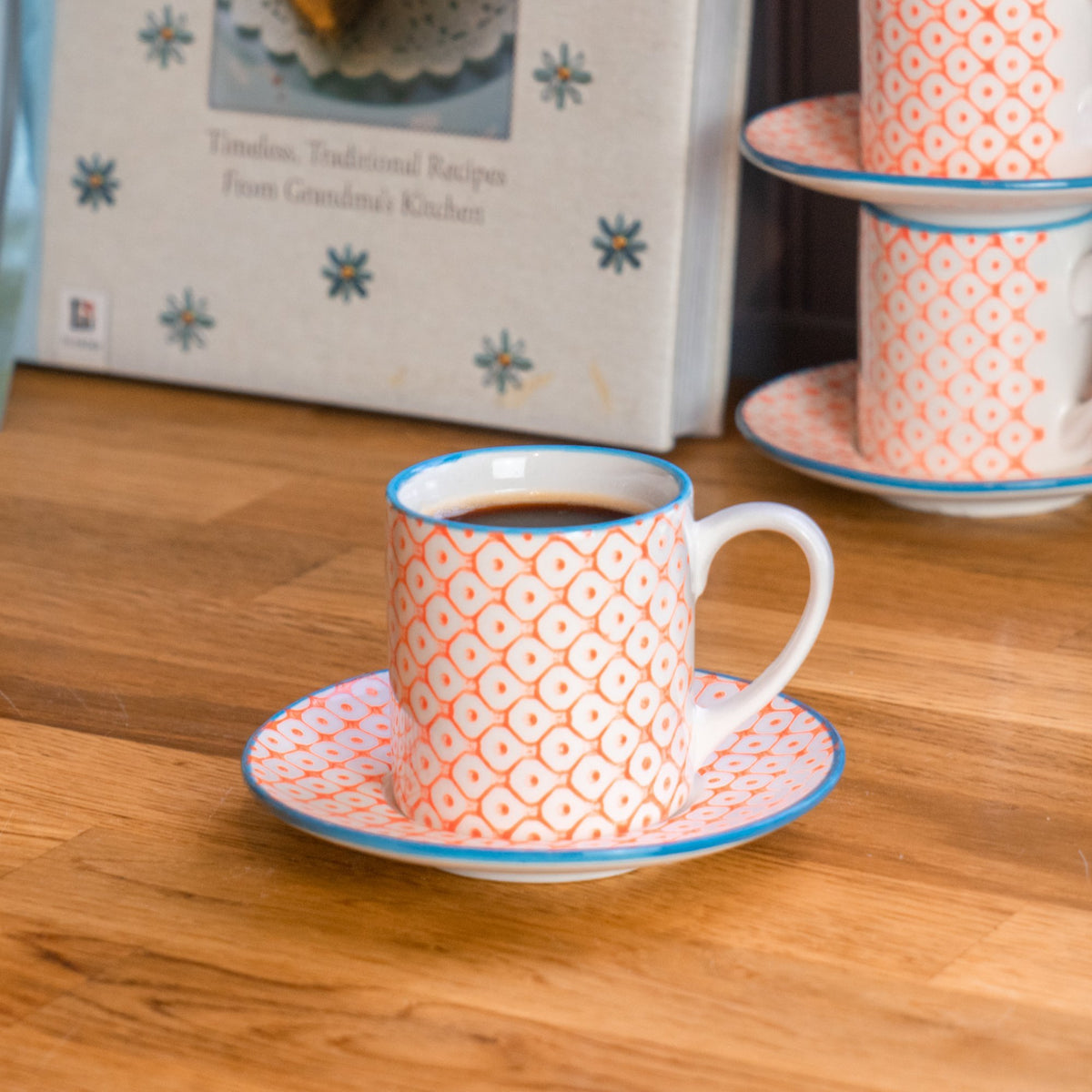 Nicola Spring Patterned Espresso Cup and Saucer Set - Orange and Blue
